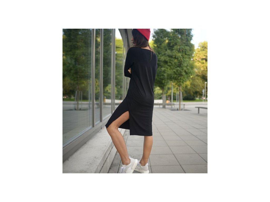 BIOGA dámské šaty MaxLONG černé s dlouhým rukávem / bambus