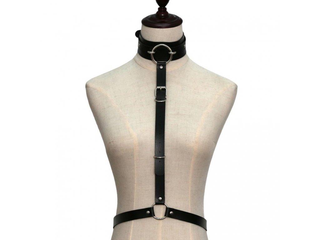 CHOKER / bodypiece harness černý koženkový