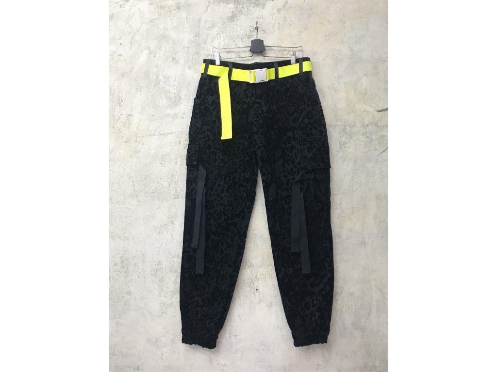 PRINCESS TIRAMISU černé unisex kalhoty kapsáče vzorované semišem s neonovým žlutým páskem