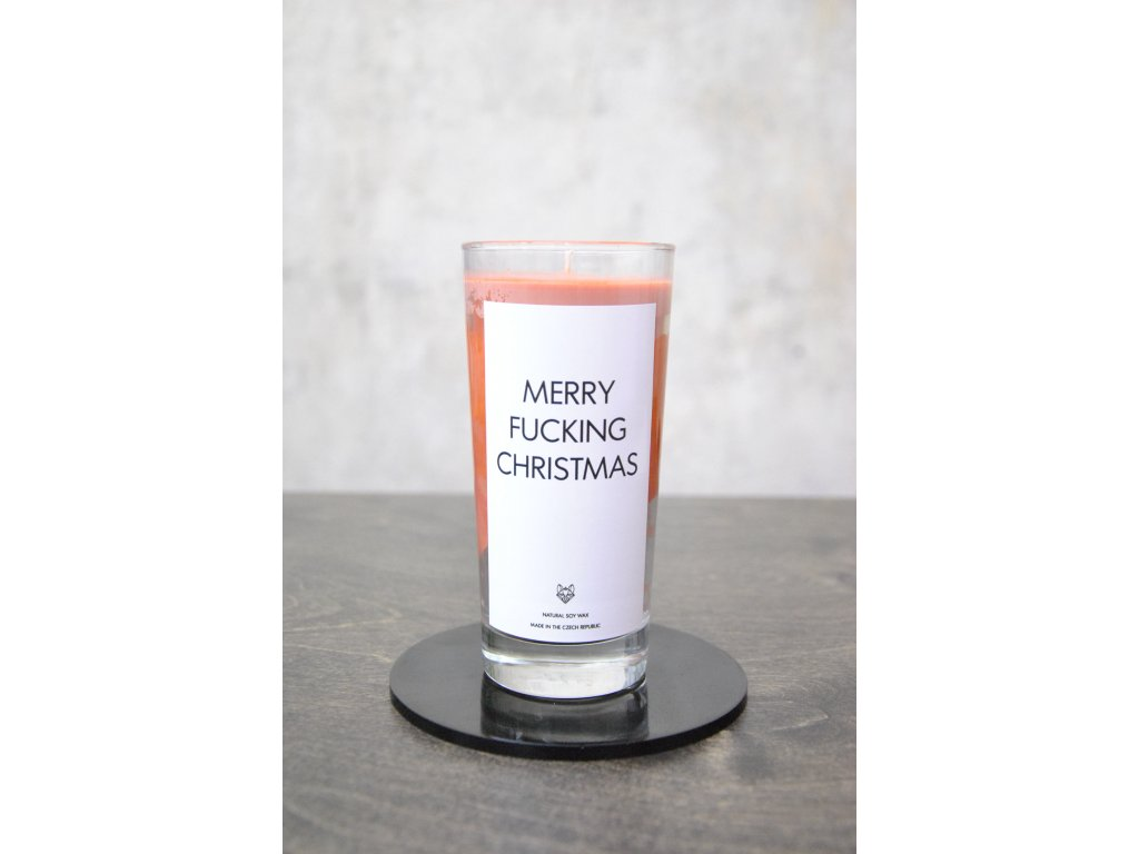 Things by E. - IRONIC CANDLES - MERRY FUCKING CHRISTMAS / orange red