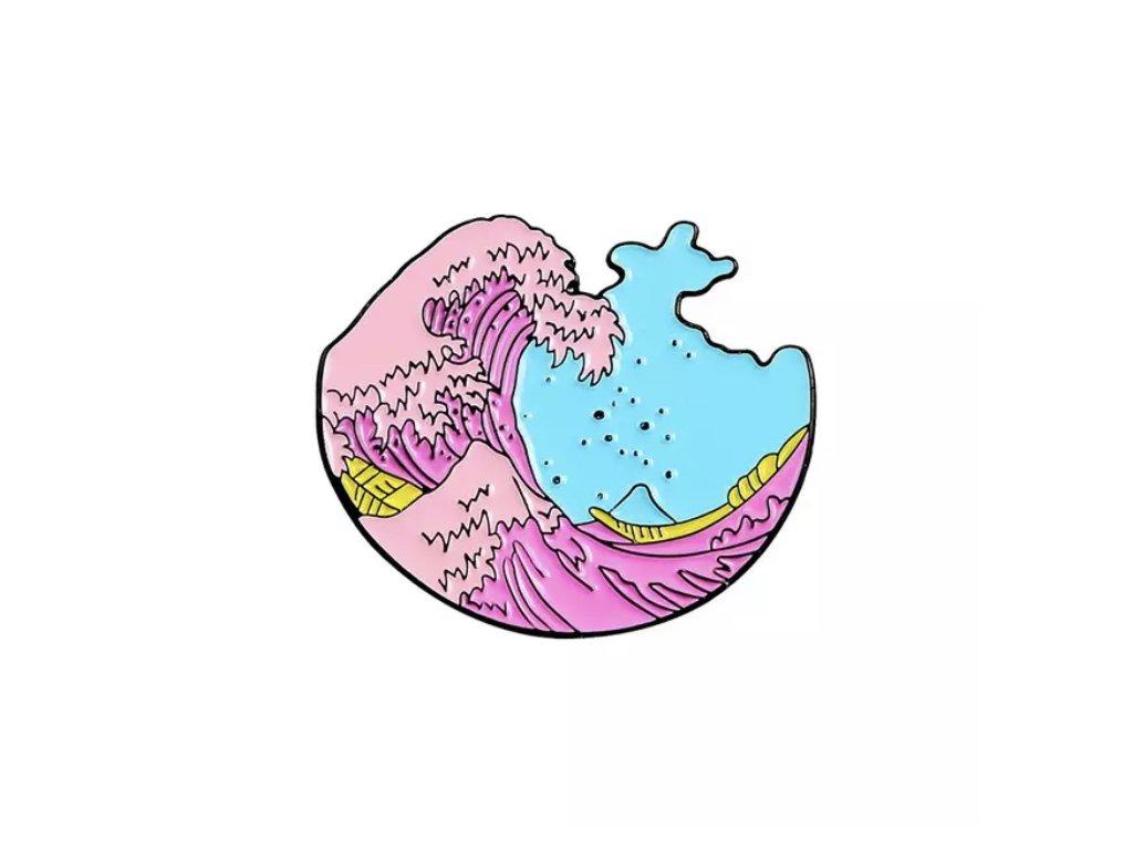 Pin / Brož Odznáček - růžovomodré vlny