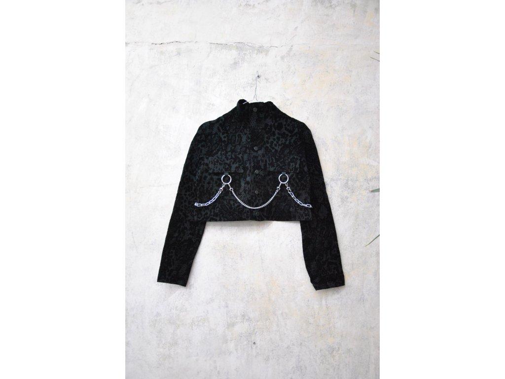PRINCESS TIRAMISU Bunda černá se semišovým zdobením a řetězy
