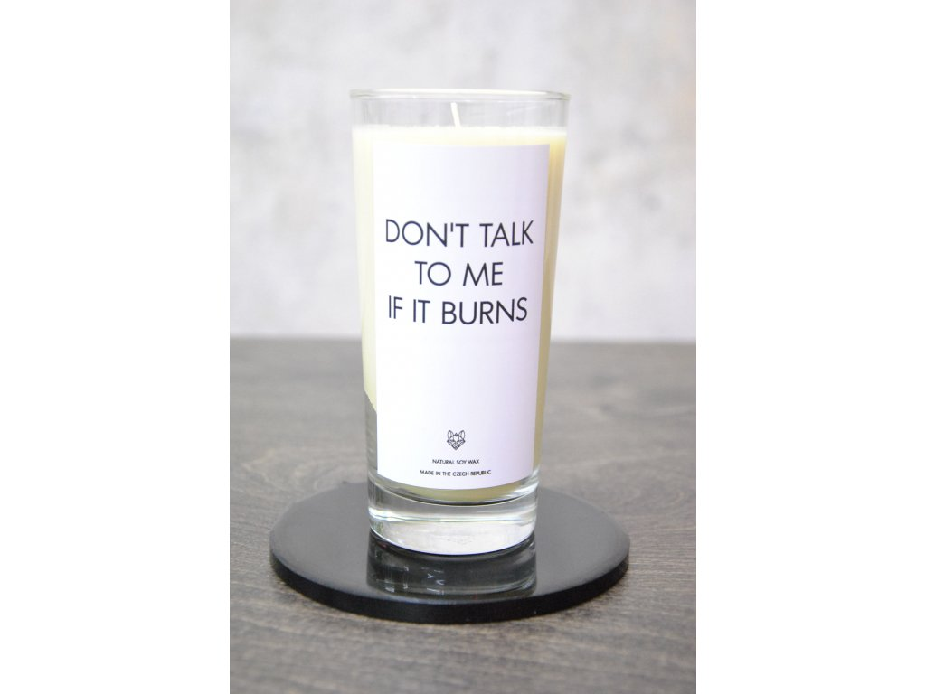 Things by E. - IRONIC CANDLES - svíčka - DONT TALK TO BE IF ITS BURN - SVĚTLE ŽLUTÁ - ŽLUTÝ MELOUN