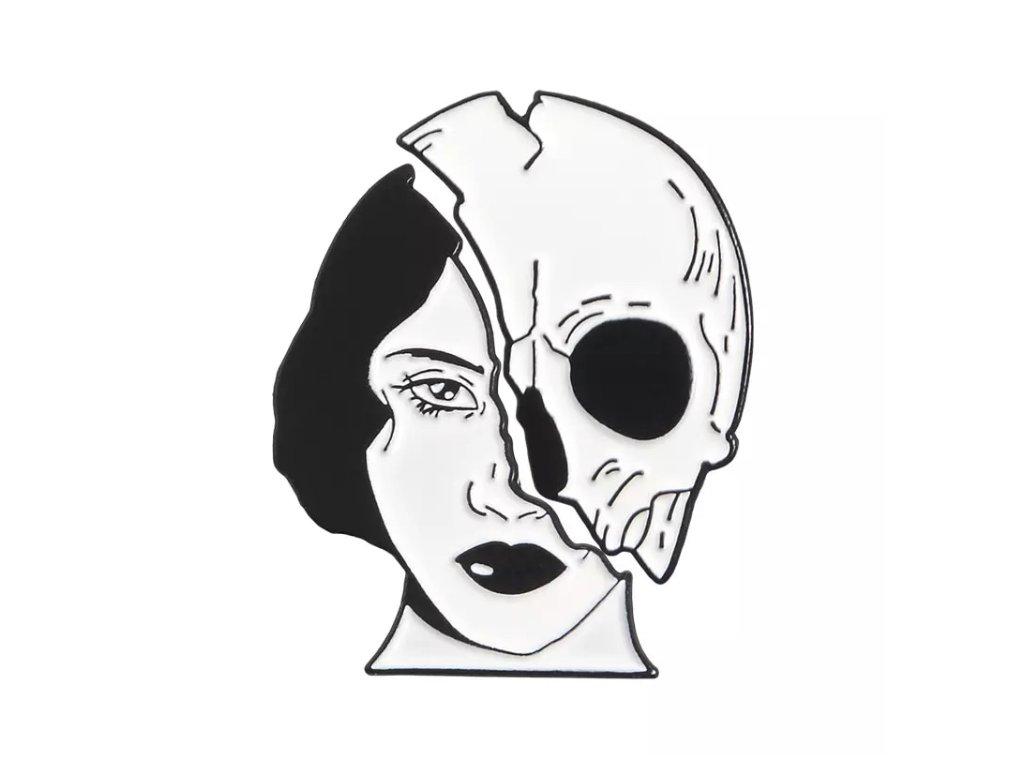 Pin / Brož destička dvoudílná obličej / lebka