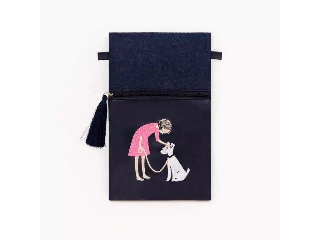 Modrá kabelka / kapsička / peněženka s výšivkou - DOG LADY