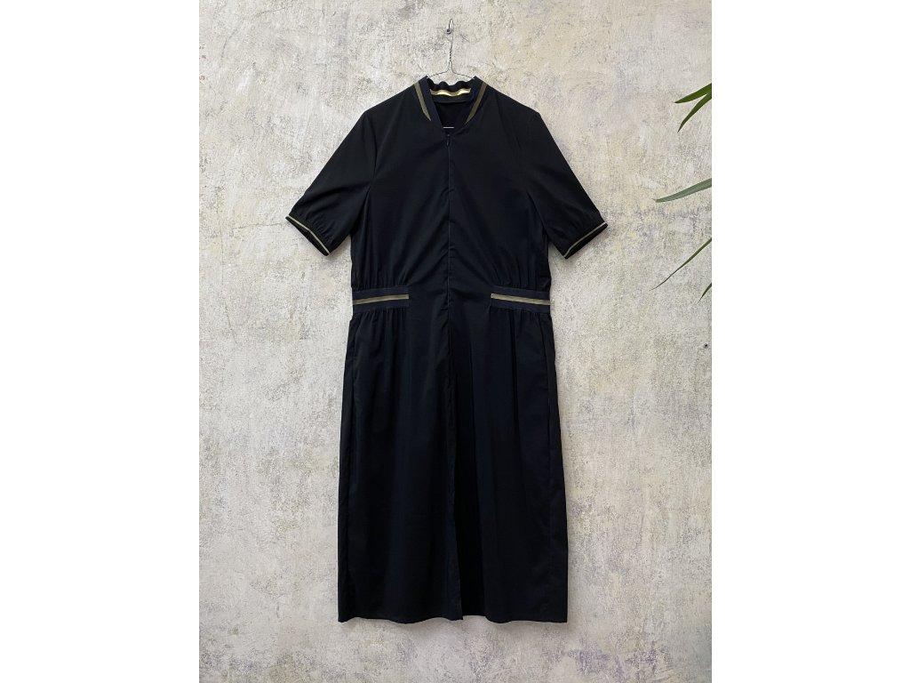 KRAPA černé šaty se zlatými detaily - bomber style