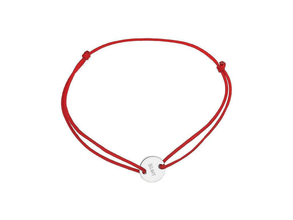 NLMT design náramek stříbro Ag kroužek na červené šňůrce