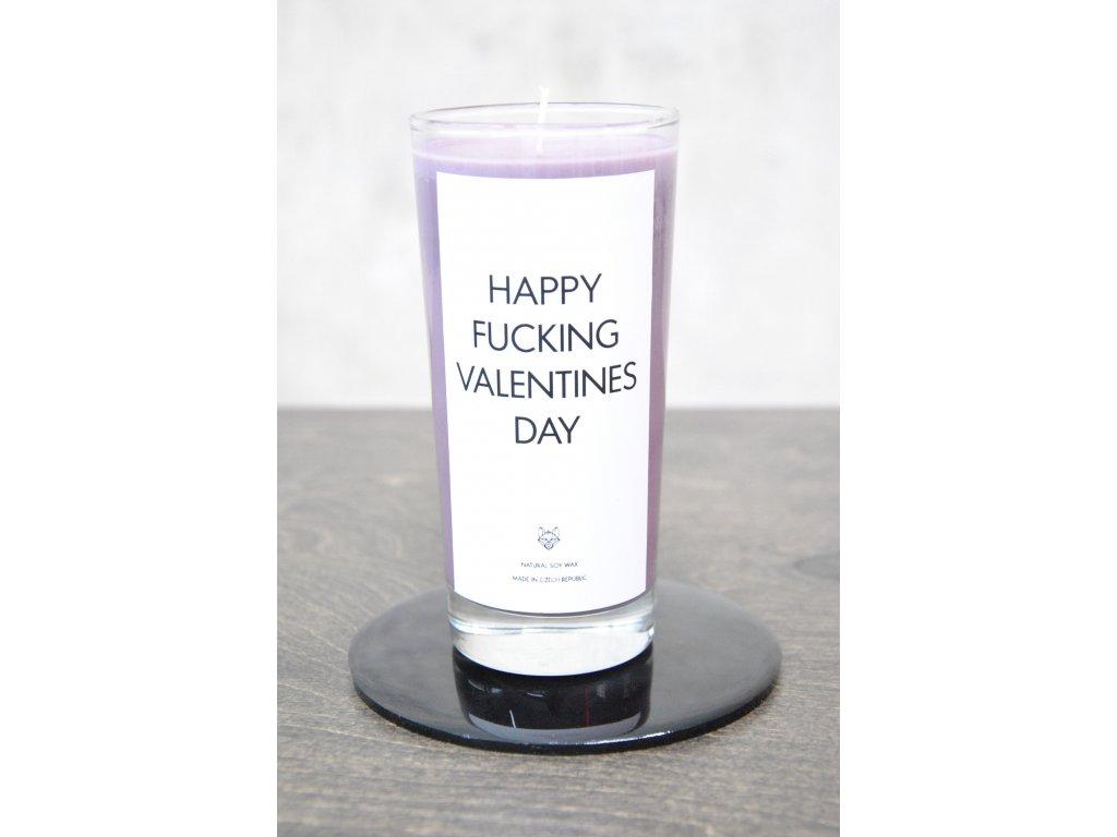 Things by E. - IRONIC CANDLES - svíčka - HAPPY FUCKING VALENTINES DAY - lotosový květ/levandule
