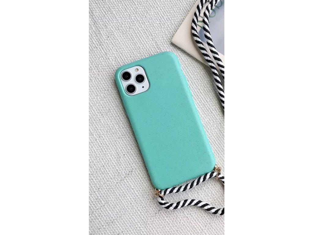 Crossbody kryt / závěs na telefon se šňůrou - zelený kryt / bíločerná šňůra