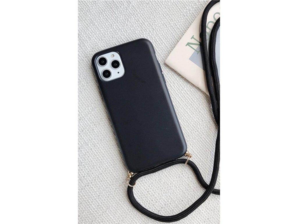 Crossbody kryt / závěs na telefon se šňůrou - černý kryt / černá šňůra