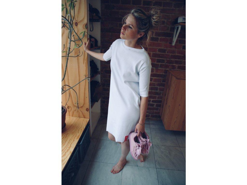 City Folklore Šaty Rib Midi 3/4 sleeve White / bílé krátké šaty s 3/4 rukávem