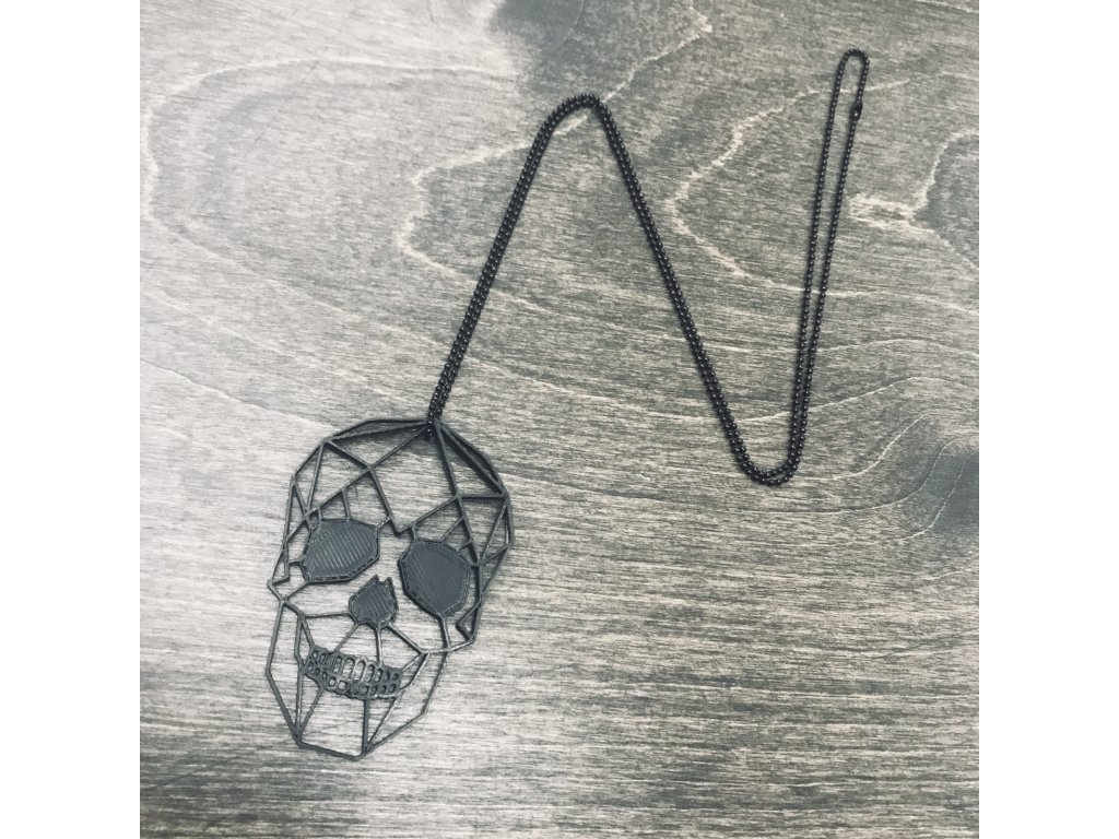 Náhrdelník Things by E. - lebka černá