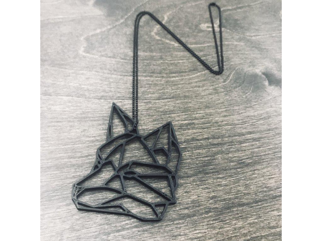 Náhrdelník Things by E. - hlava lišky černá