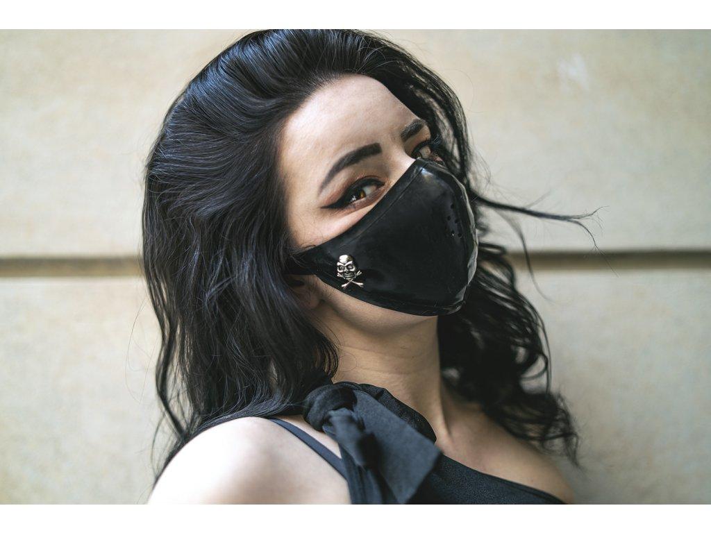 KirstenVaams latexová rouška / maska Black Skull - černá