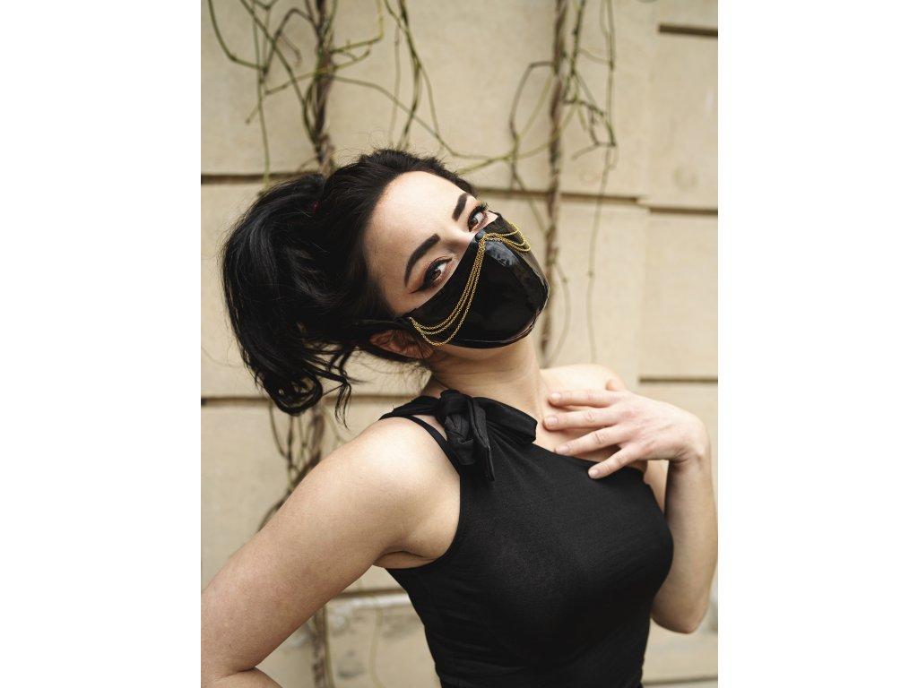 KirstenVaams latexová rouška / maska Femme Fatale Gold - černá se zlatým řetízkem