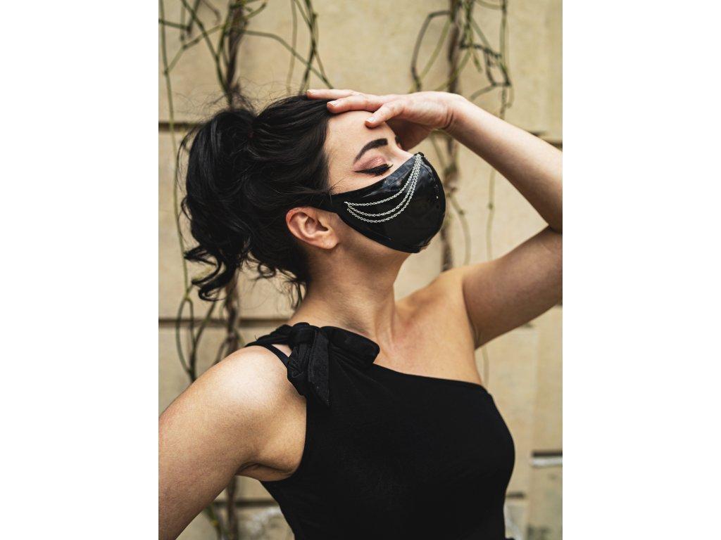 KirstenVaams latexová rouška / maska Femme Fatale Silver - černá se stříbrným řetízkem