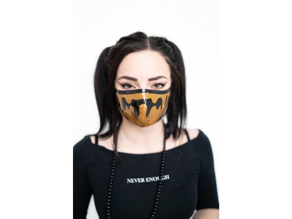 KirstenVaams latexová rouška / maska Liquid - hnědočerná