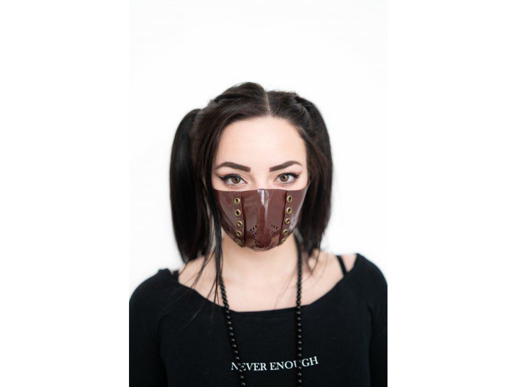 KirstenVaams latexová rouška / maska Fighter Brown Metal - hnědá