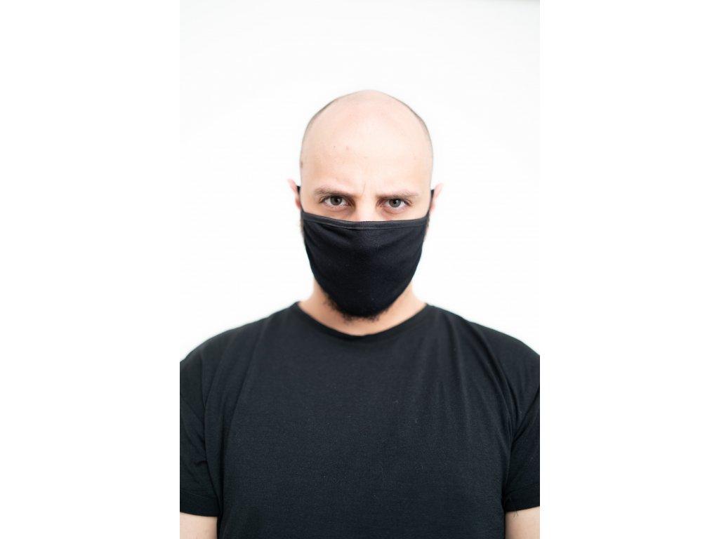 NTRXZ maska na obličej / rouška bavlněná černá bez potisku