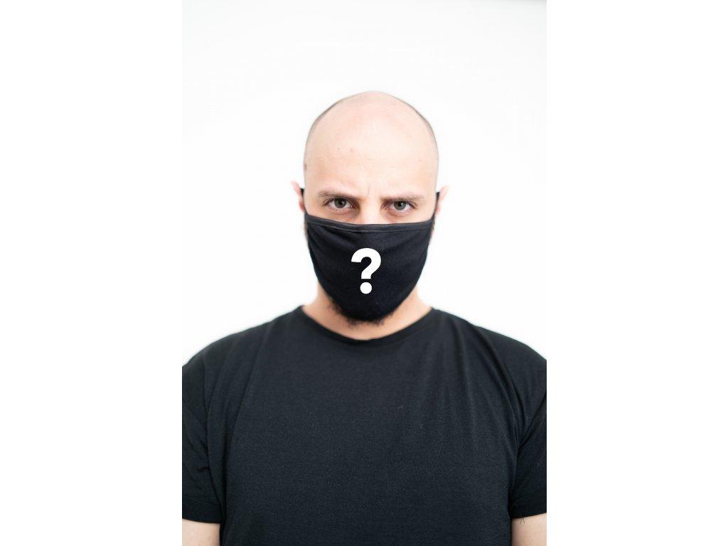 NTRXZ maska na obličej / rouška bavlněná černá - s potiskem na přání