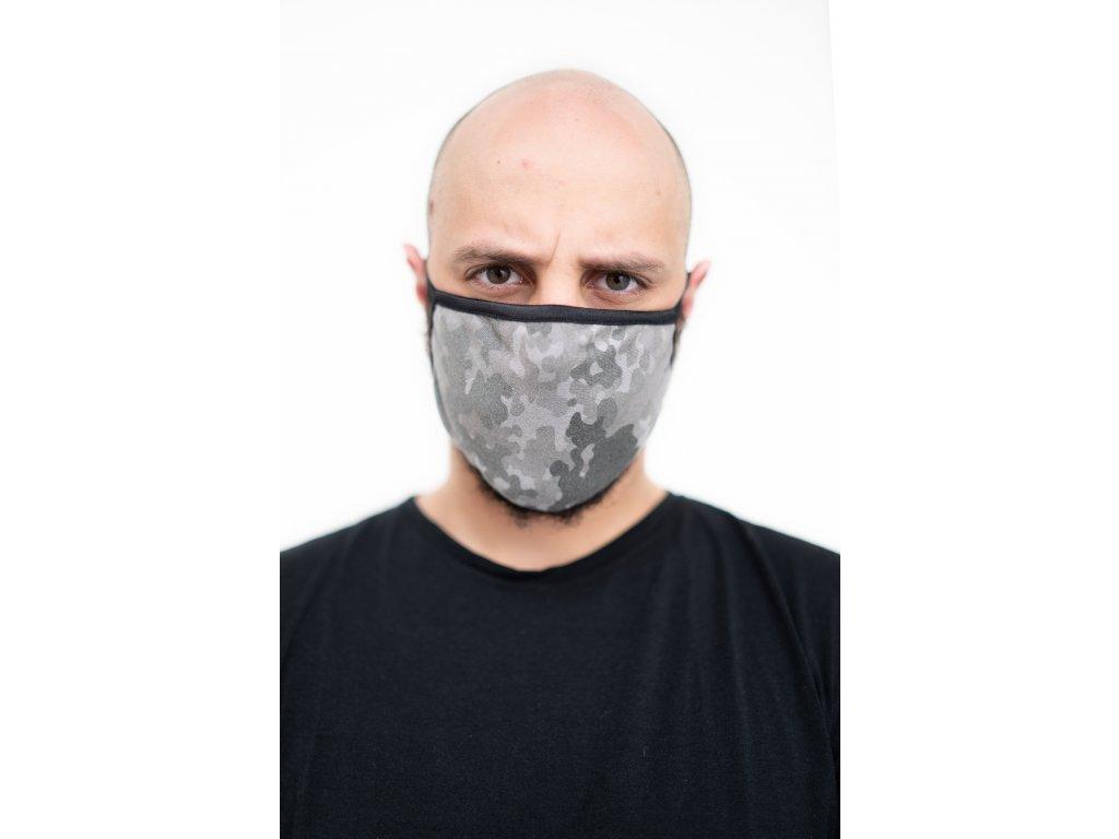 NTRXZ oboustranná maska na obličej / rouška bavlněná šedá maskáčová / černá