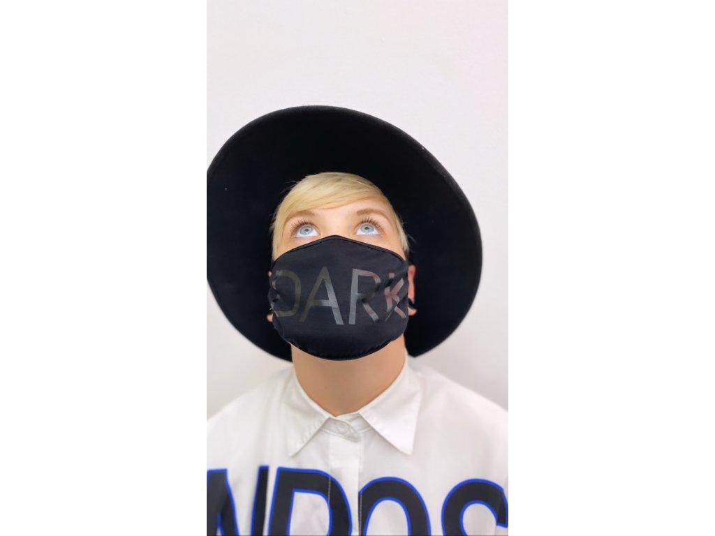 DARK dámská maska na obličej / rouška bavlněná černá - lesk