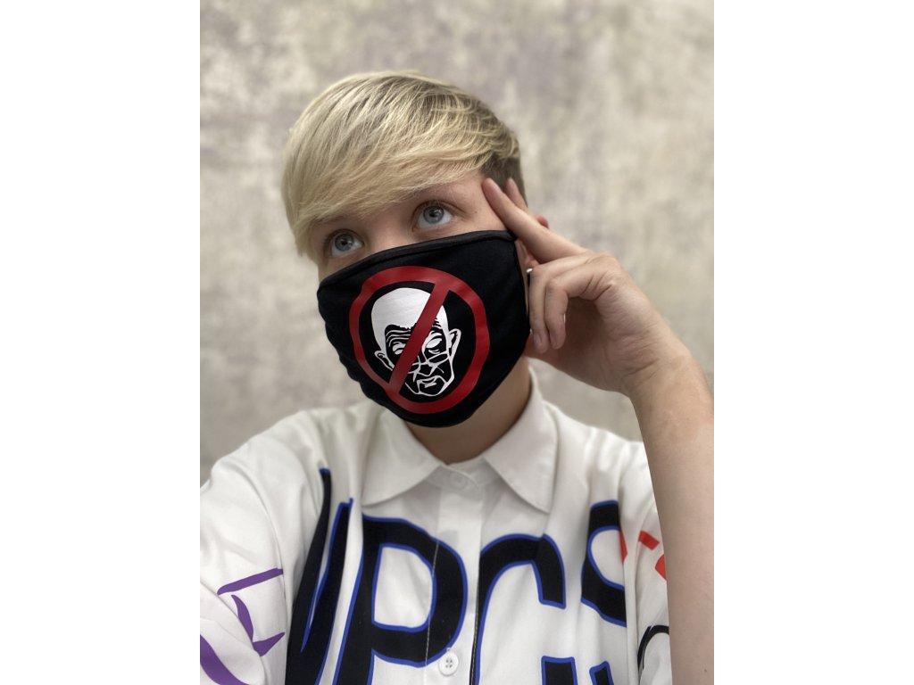 NTRXZ dámská maska na obličej / rouška bavlněná černá - bílý potisk ANTIBABIŠ