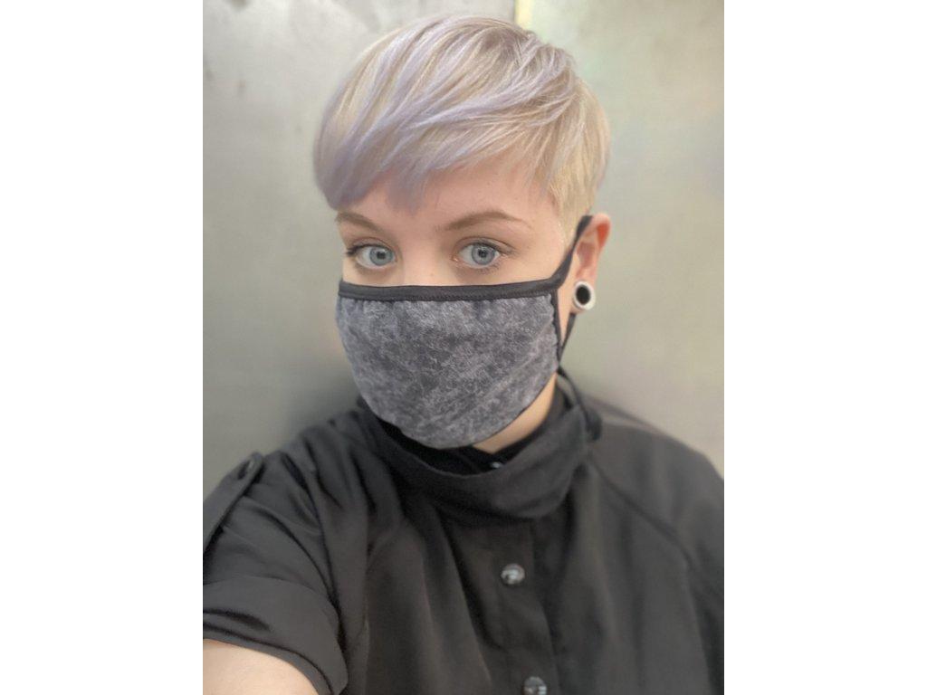 NTRXZ unisex maska na obličej / rouška bavlněná šedá žíhaná