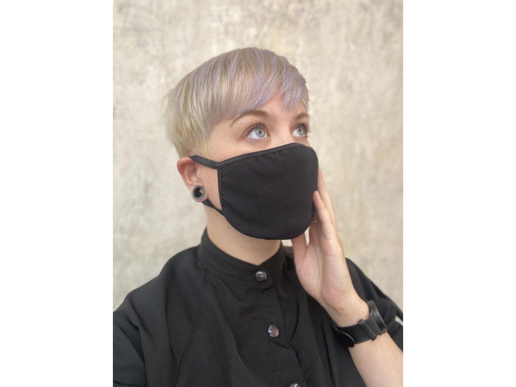NTRXZ unisex maska na obličej / rouška bavlněná černá s aktivním stříbrem