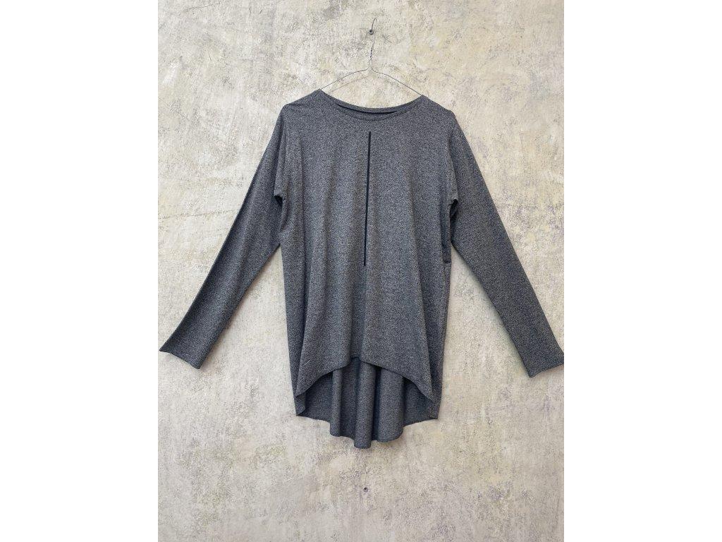 ARTGI tričko s dlouhým rukávem - šedý žíhaný bambus / černá čára