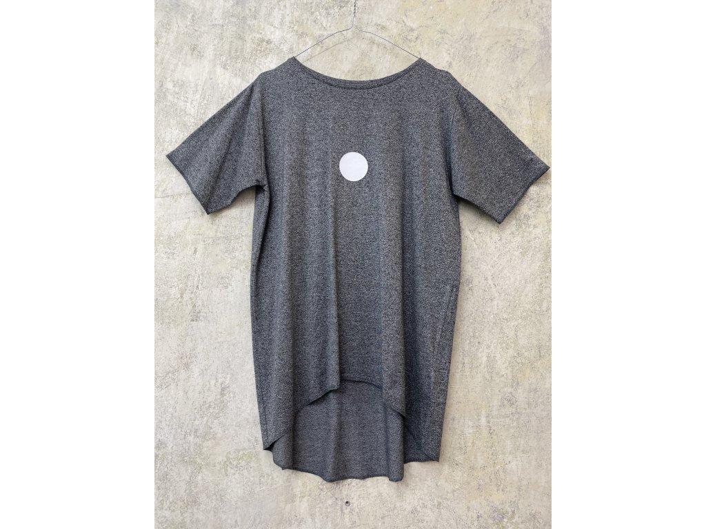 ARTGI tričko s krátkým rukávem - šedý žíhaný bambus / bílá tečka