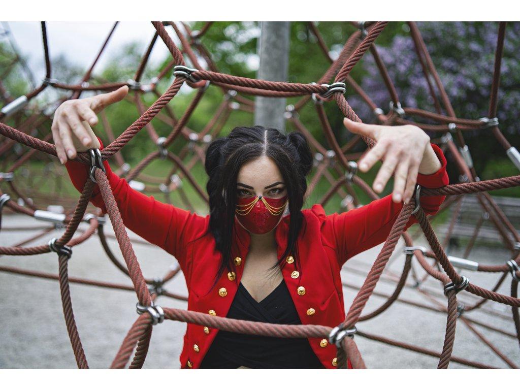 KirstenVaams latexová rouška / maska Red Femme Fatale - červená