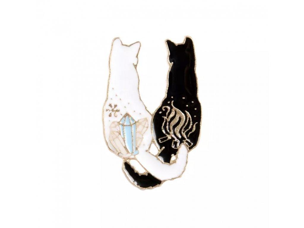 Brož / odznáček - bílá a černá kočka / dvě kočky