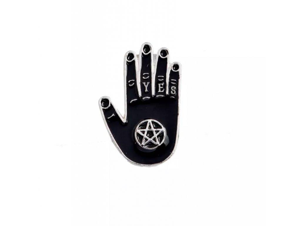 Pin / Brož / Odznáček - ruka s pentagramem YES