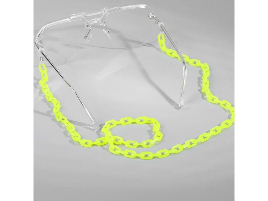 Šňůra / řetízek na brýle - sunglasses chain acrylic - žlutý