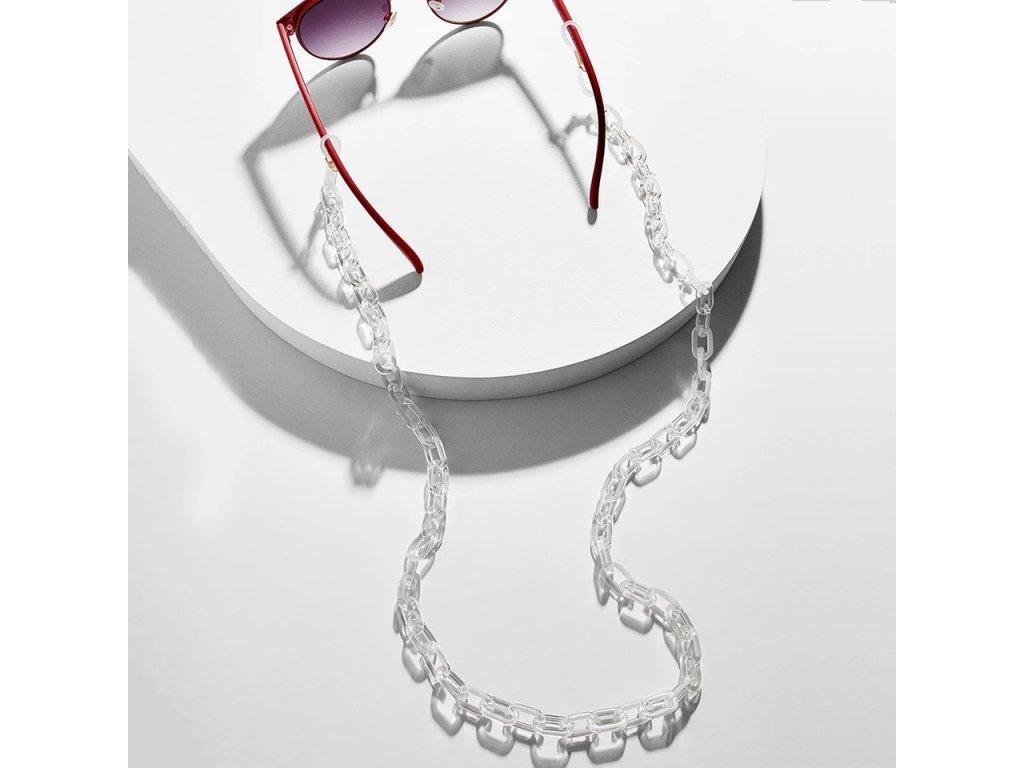 Šňůra / řetízek na brýle - sunglasses chain acrylic -  transparentní