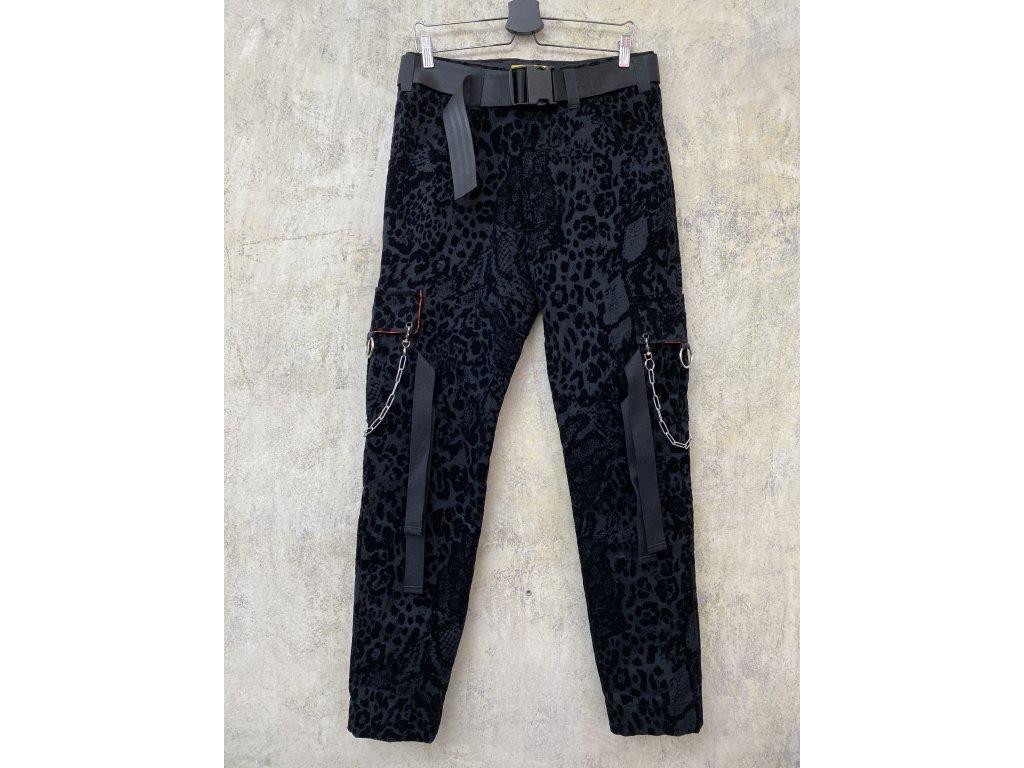 PRINCESS TIRAMISU pánské černé vzorované CARGO PANTS