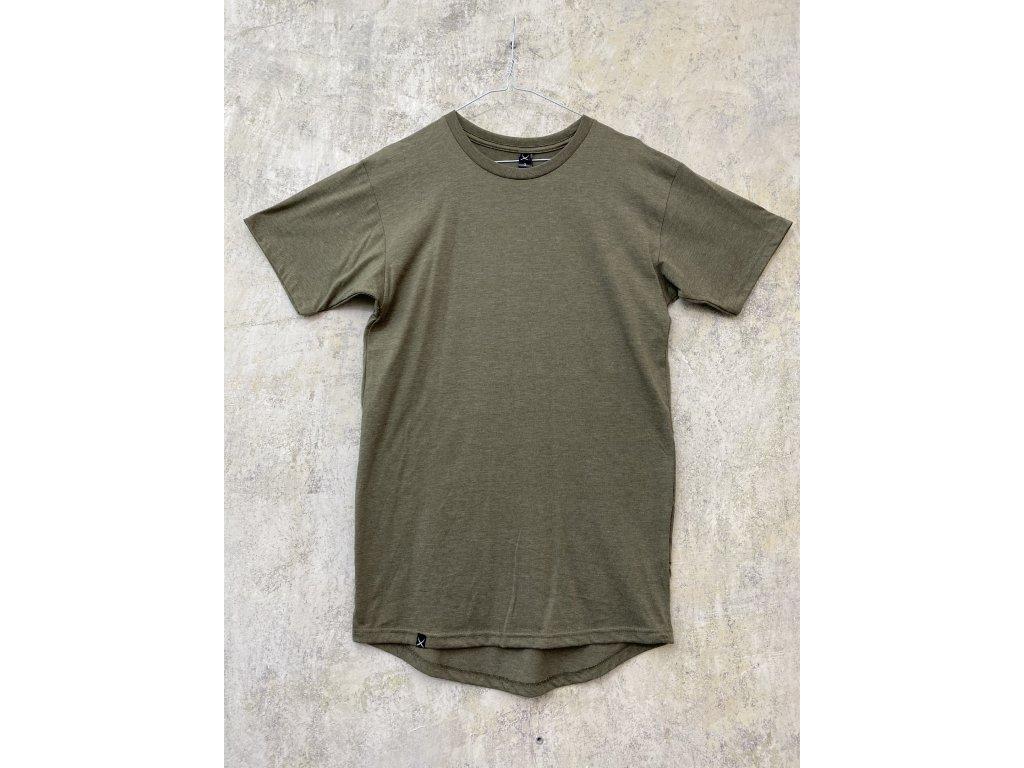 NTRXZ pánské tričko zelené khaki mesh - prodloužený střih / bez potisku