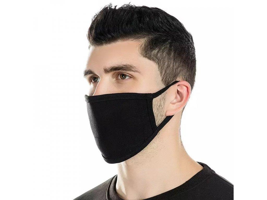 Unisex látková maska / rouška černá / black