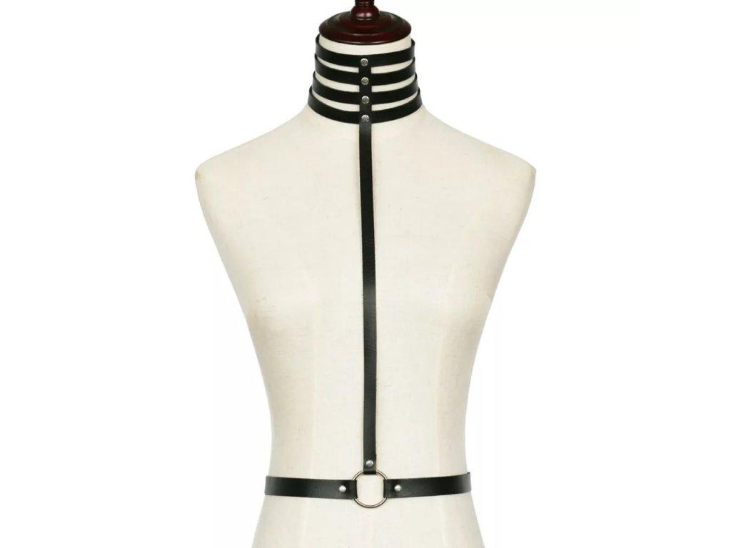 CHOKER / bodypiece harness černý koženkový II.