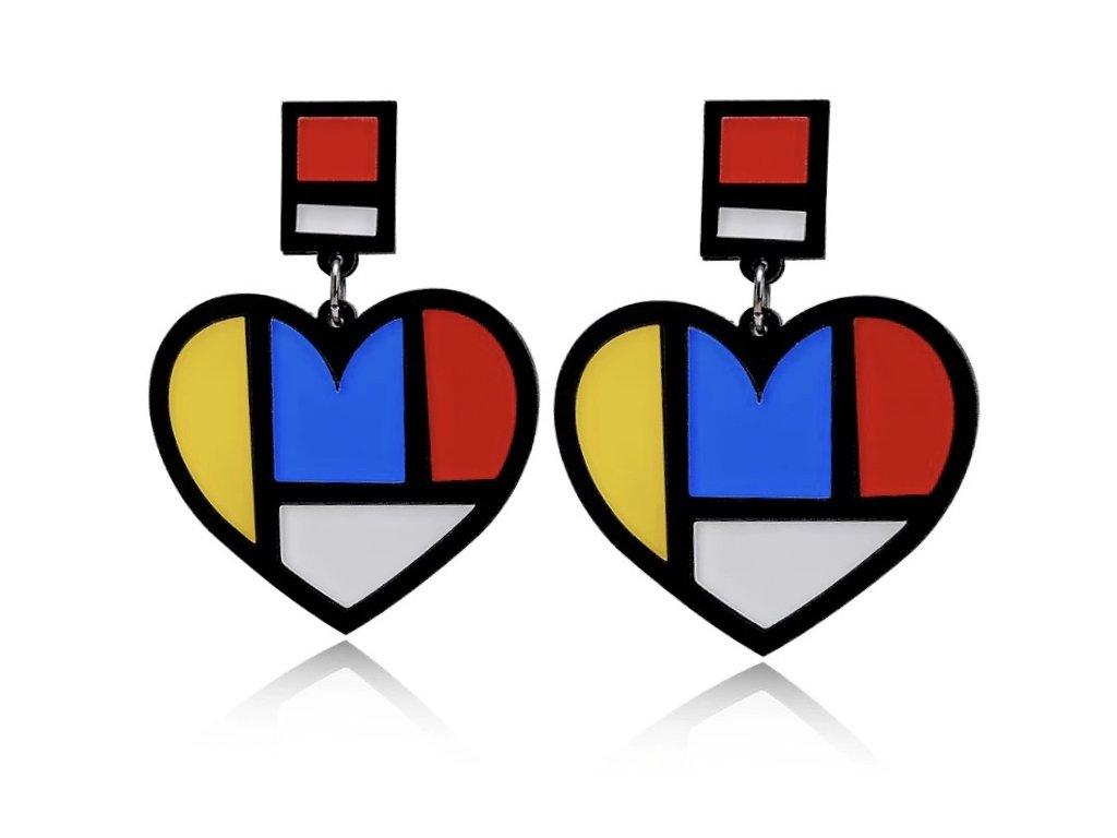 Náušnice Mondrian heart / srdce