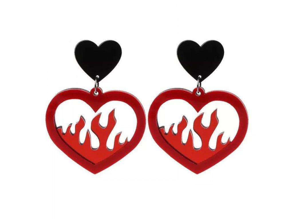 Náušnice RED HEARTH FLAME - červenočerné