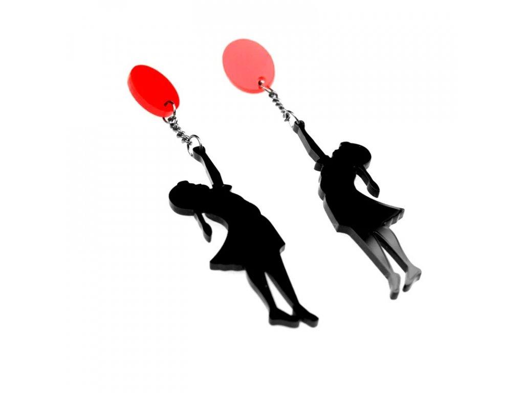 Náušnice BANKSY girl - dívka s červeným balónkem