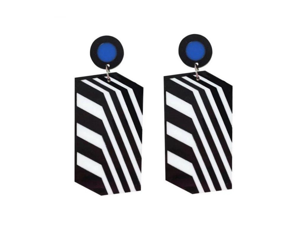 Náušnice BLACK AND WHITE STRIPES - geometrické s modrým puntíkem