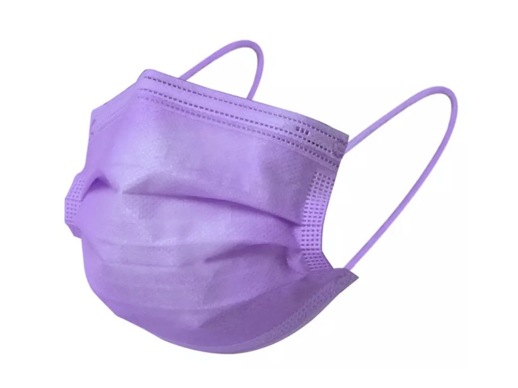 Jednorázová světle fialová rouška / maska / ústenka - LIGHT PURPLE MASK