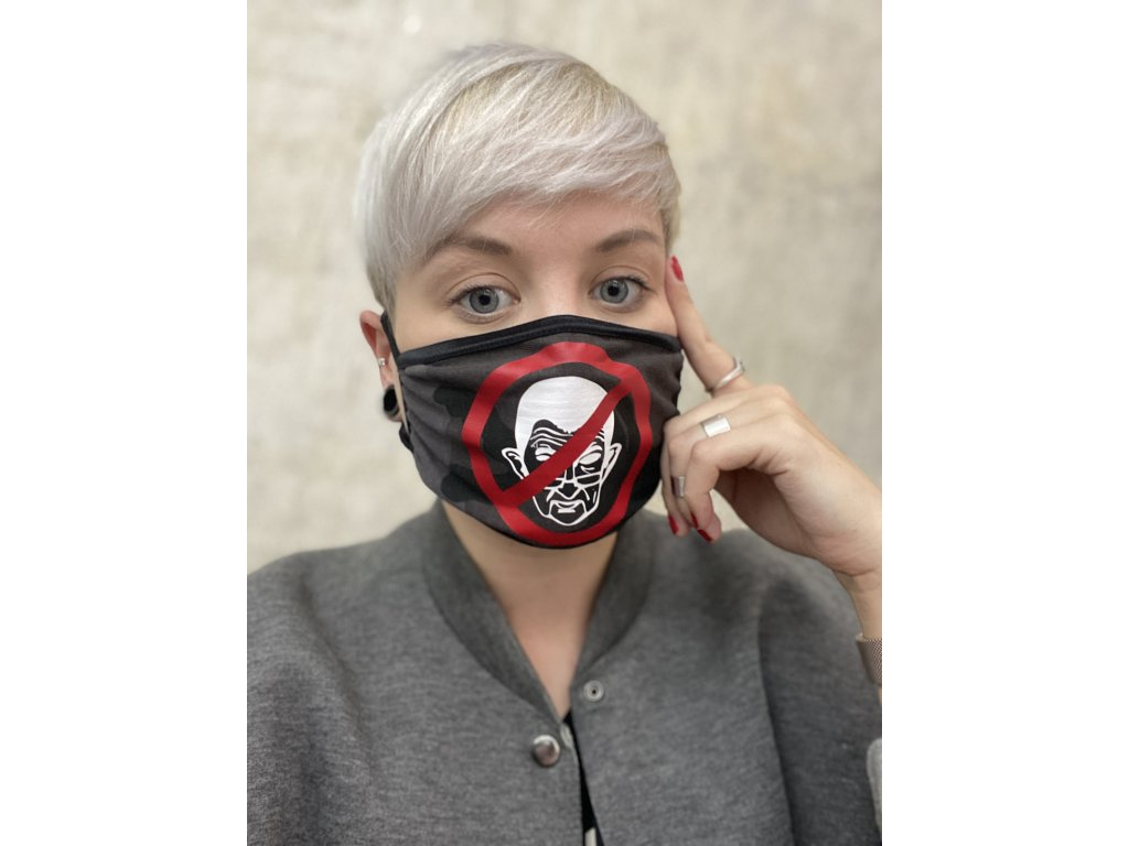 NTRXZ unisex maska na obličej / rouška bavlněná maskáč tmavý- ANTIBABIŠ