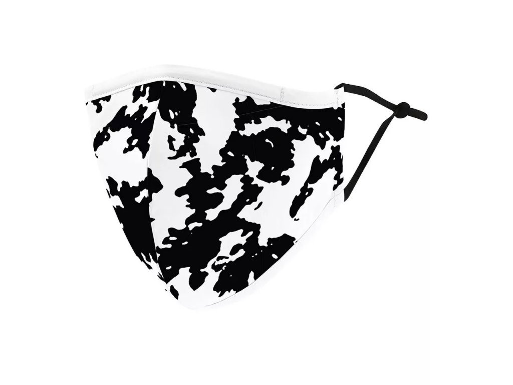 DARK černobílá rouška s gumičkami - BLACK SPOTS