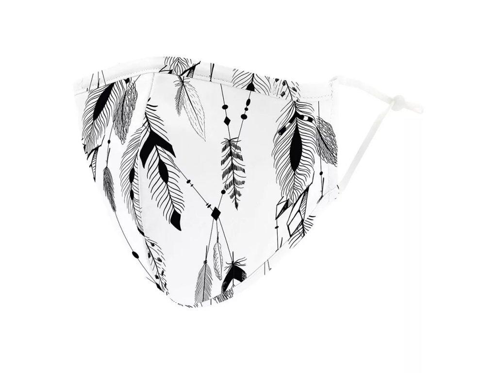 DARK černobílá rouška s gumičkami - FEATHERS - indiánská pírka + filtr PM 2.5