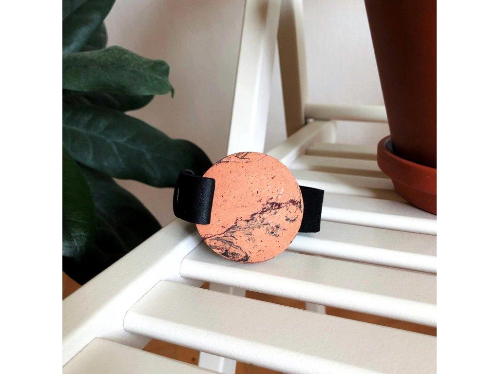 UMMA široký kožený náramek / černý s oranžovým mramorem