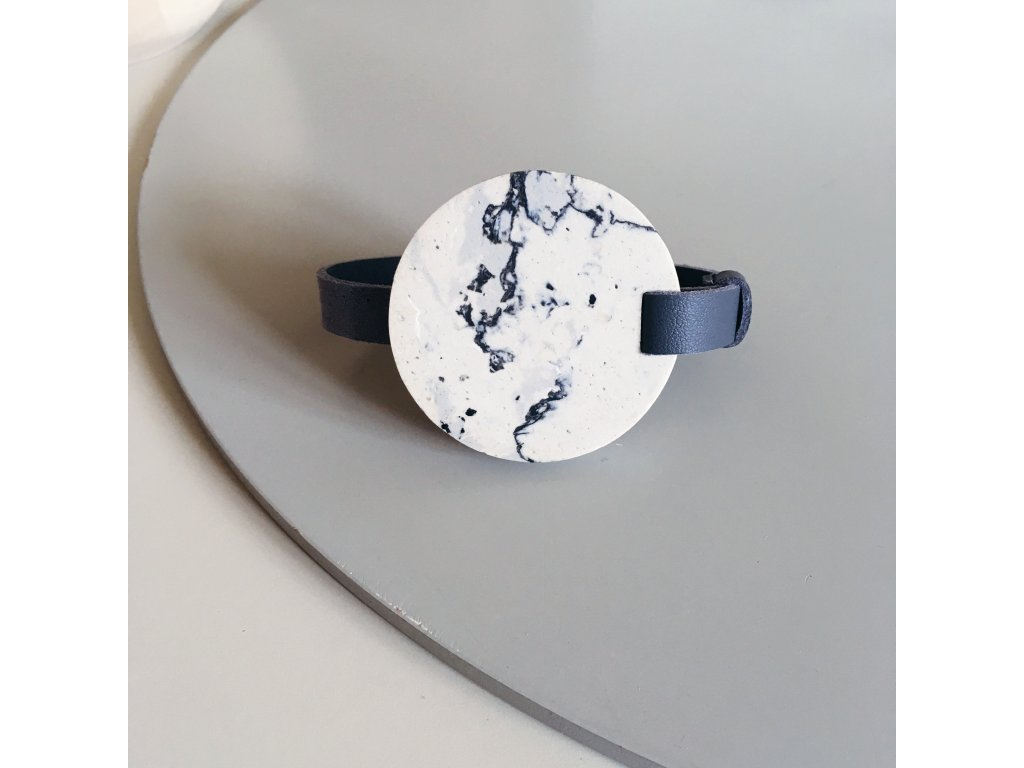 UMMA tenký kožený náramek / šedý s bíločerným mramorem